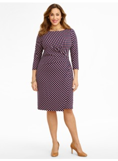 Dot- & Diamond-Link Knit Dress