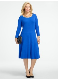 Ribbed-Skirt Sweater Dress