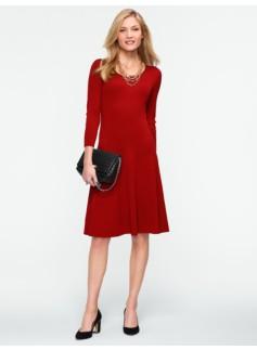 Ribbed-Skirt Sweater Dress