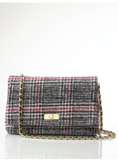 Lenox Plaid Top-Flap Shoulder Bag