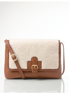 Faux Shearling-Trimmed Leather Shoulder Bag