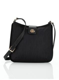 Turnlock-Tab Flannel Shoulder Bag
