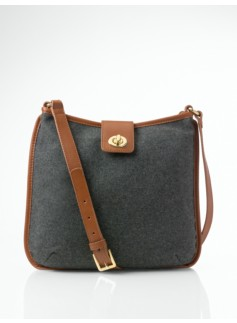 Turnlock-Tab Flannel Shoulder Bag