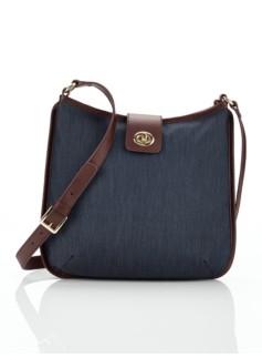 Denim Turnlock-Tab Shoulder Bag
