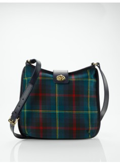 Tartan Plaid Turnlock-Tab Shoulder Bag