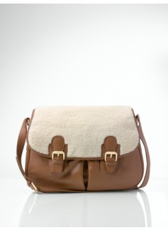 Faux Shearling-Trimmed Buckle-Pocket Shoulder Bag