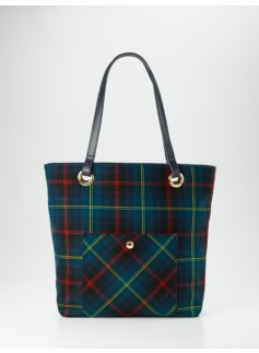Tartan Plaid Flannel Front-Pocket Tote