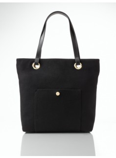 Black Flannel Front Pocket Tote