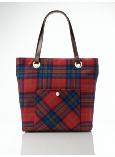 Plaid Flannel Front Pocket Tote