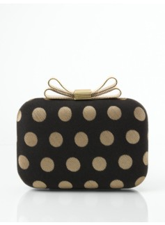Bow-Topped Polka-Dot Jacquard Clutch