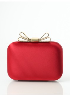Bow-Topped Satin Clutch