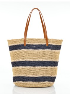Striped Crushable Straw Tote
