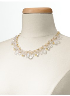 Faceted Bead & Crystal Drop Necklace