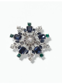 Gemstone Snowflake Brooch