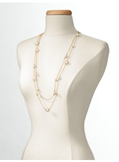 Double-Row Pav� Pearl Necklace