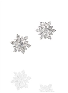 Sterling Silver Pav� Poinsettia Earrings