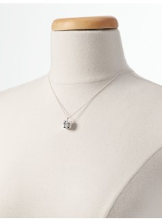 Pav� Bow-Wrapped Present Sterling Silver Necklace