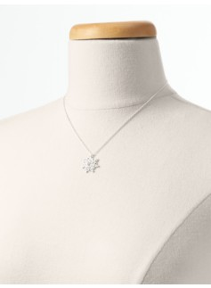 Holiday Pav� Wreath Sterling Silver Necklace