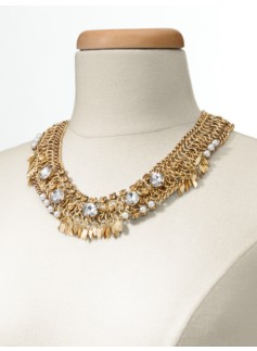 Crystal & Pearl Chain-Collar Necklace
