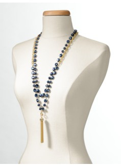 Mixed Bead Tassel Necklace