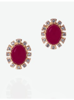 Cabochon & Rhinestone Earrings