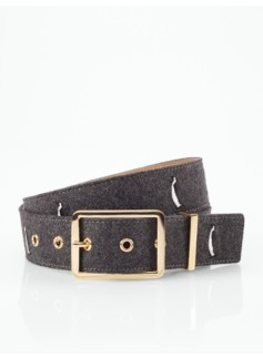 Embroidered Solid-Colored Flannel Belt