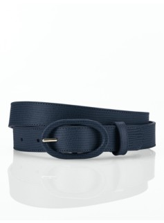 Textured Leather Covered-Buckle Belt