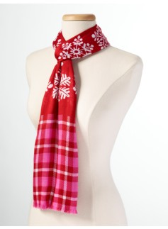 Snowflake & Plaid Scarf