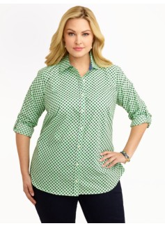 Leaf & Dot Print Cotton Shirt