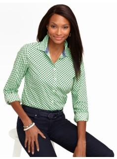 Leaf & Dot Print Cotton Shirt