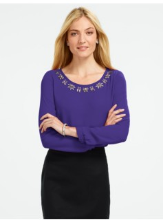 Crepe Bead-Neck Blouse
