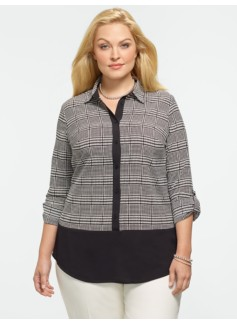 Houndstooth Colorblocked Shirt
