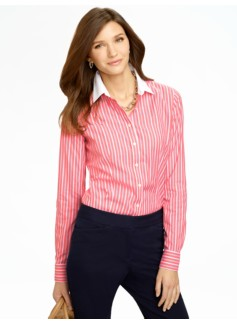 Wrinkle Resistant Blocked-Collar Veria Stripes Shirt