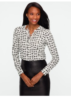 Key-Print Band Collar Shirt