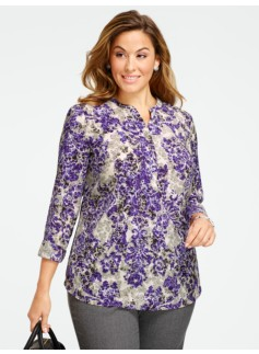 Baroque Floral Scrolls Band-Collar Blouse