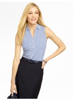 Geo-Grid Sleeveless Nantucket Shirt