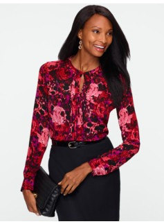 Washable Silk Rose Ikat Pintuck Blouse