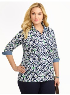 Vintage Filigree Print Cotton Shirt