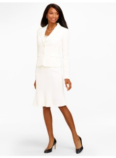 Seasonless Crepe Ivory Two-Button Jacket