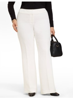 Heritage Seasonless Crepe Ivory Wide-Leg Pants