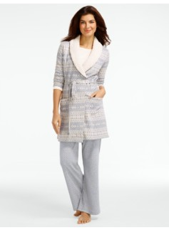 Faux-Sherpa Collar Fair Isle Robe