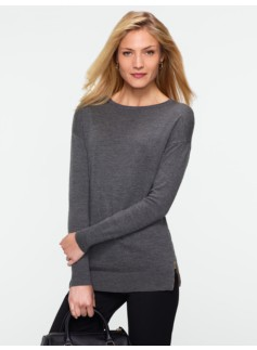 Merino Side-Zip Crewneck Sweater