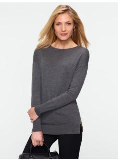 Merino Side-Zip Crewneck Sweater