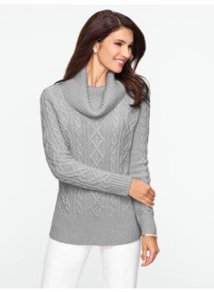 Cashmere Cable Cowlneck Sweater