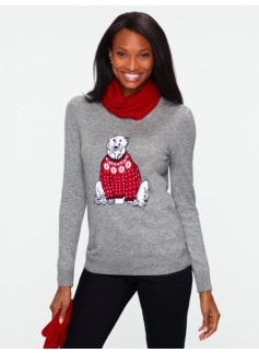 Zip-Shoulder Polar Bear Sweater