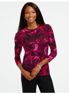 Baroque Rose-Print Merino Sweater