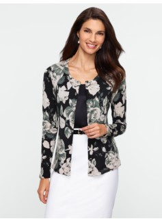 Charming Merino Rose-Print Cardigan