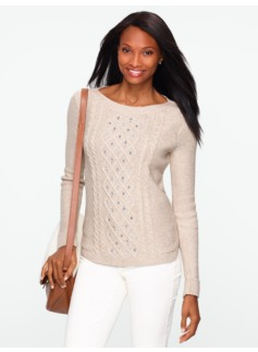 Jeweled Cable-Front Sweater