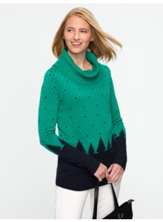 Cozy Pine Tree Cowlneck Sweater