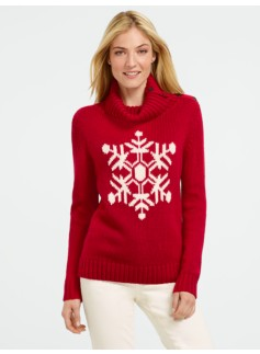 Snowflake Button Turtleneck